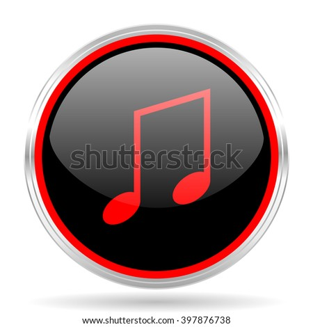 music black and red metallic modern web design glossy circle icon
