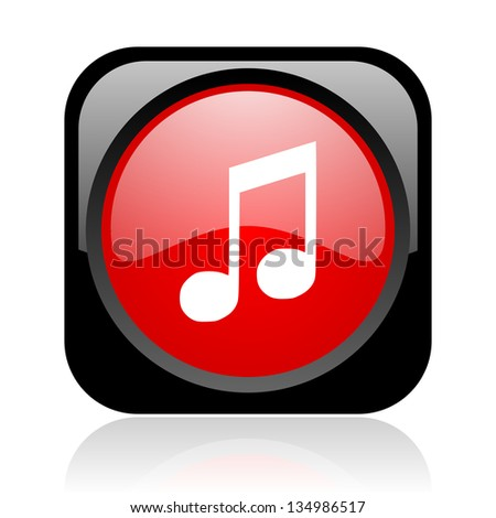 music black and red square web glossy icon