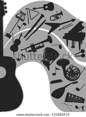 Music. Black-and-white compositions with musical instruments - stock photo