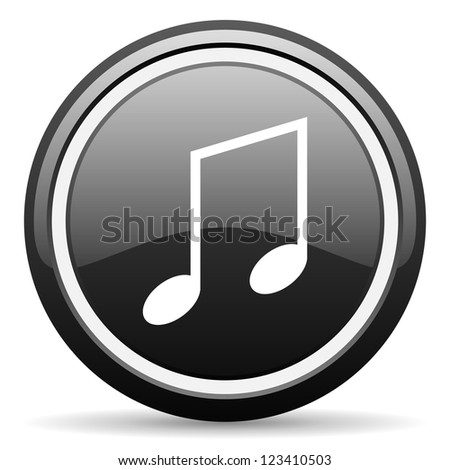 music black glossy icon on white background