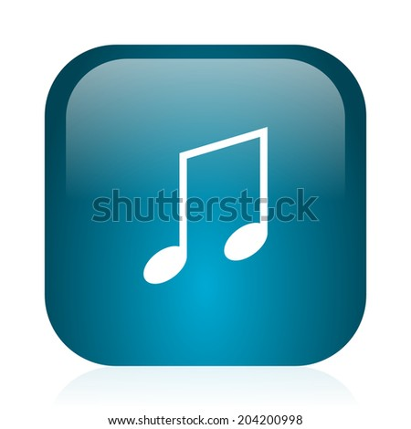 music blue glossy internet icon
