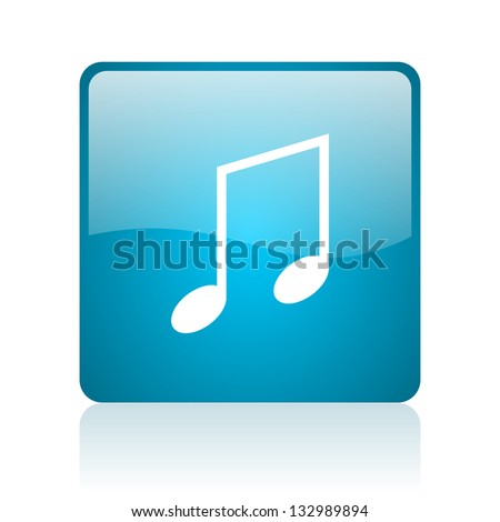 music blue square web glossy icon