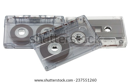 music cassettes isolated on white background
