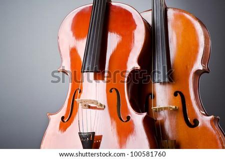 Music Cello in the dark room - stock photo