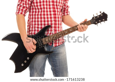 Music, close-up. Musician with electro guitar - stock photo