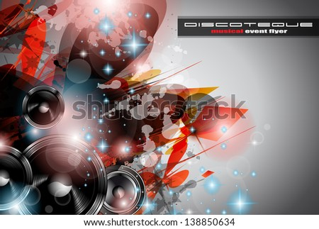 Music Club background for disco dance international event with a lot of design elements. Ideal for posters, flyers and advertising panels. - stock photo