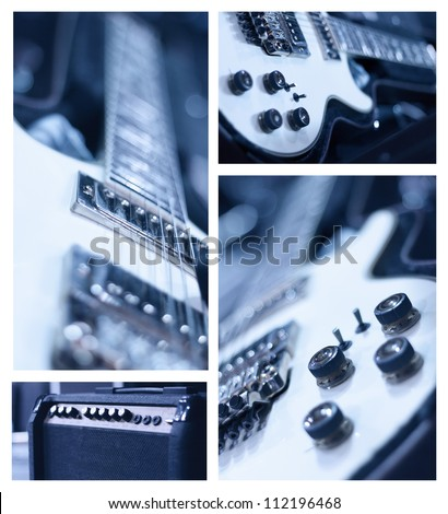 Music Collage. Collage of photos of tinted blue guitar and amp - stock photo