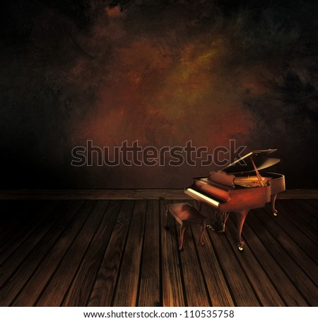 Music concept. Background  with Vintage piano - stock photo