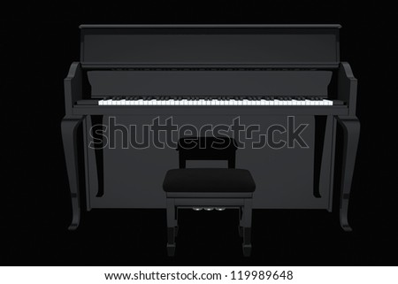 Music Concept. Black piano on a black background - stock photo
