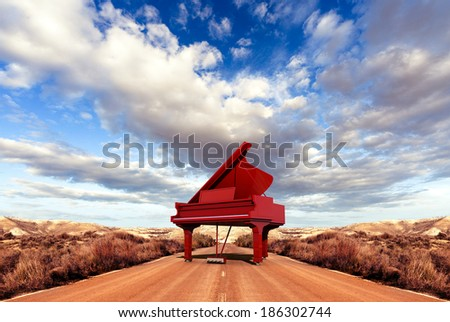 Music concept.Scenery and piano on the road - stock photo