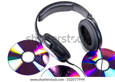 Music concept with Hi-Fi headphones and CD disc - stock photo