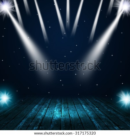 music concert background with spotlights on the stage - stock photo