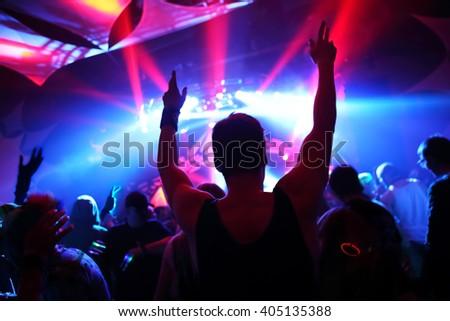 Music Concert, soft focus silhouette - stock photo
