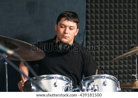 Music Drum Talent Hobby Drummer Modern Lifestyle Concept - stock photo