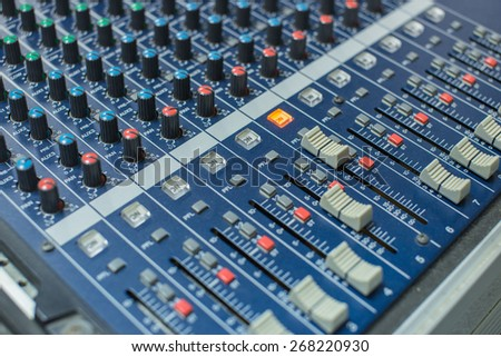 music equipment,audio mixing console and faders