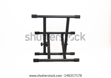 Music Equipment. Empty stand for monitor speakers isolated on white background - stock photo