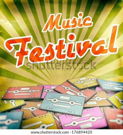 Music festival vintage poster design. Retro concept on old cassettes - stock photo