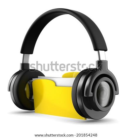 music folder on white background. Isolated 3d image - stock photo