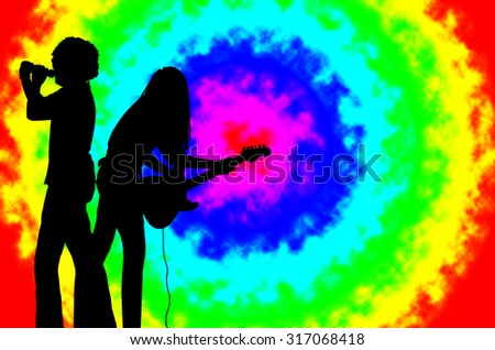Music for the Earth The Singer and Guitarist are Singing and Playing Reggae Music Against the Background of Rainbow Background - stock photo