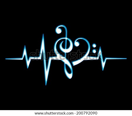 Music Frequency Wave, Bass And Treble Clef Heart - stock photo