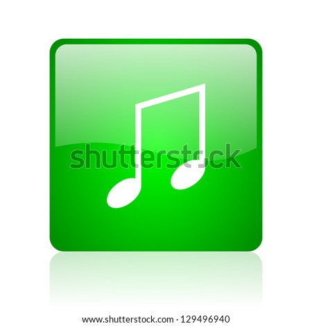 music green square web icon on white background