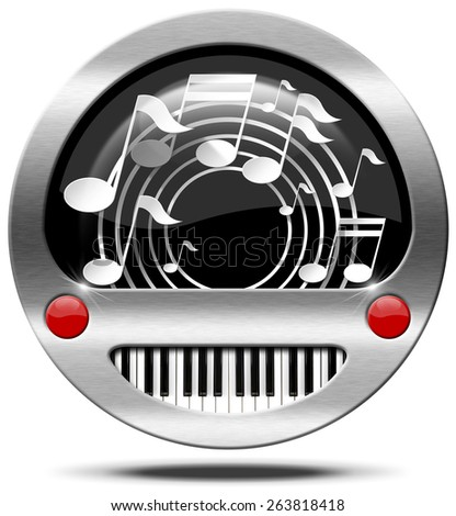 Music Icon - Piano Keyboard and Notes. Round metallic icon or symbol with white musical notes and piano keyboard. Isolated on white background - stock photo