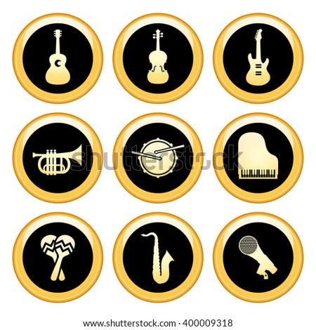 Music Icons Gold Icon Set. Raster version. - stock photo