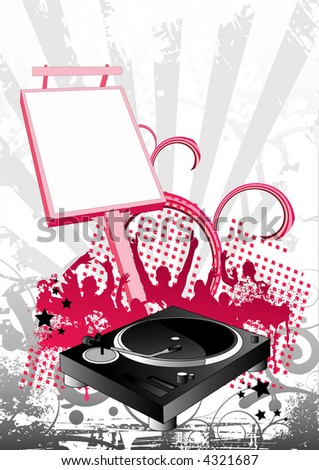 Music illustration in pink and grey - stock photo