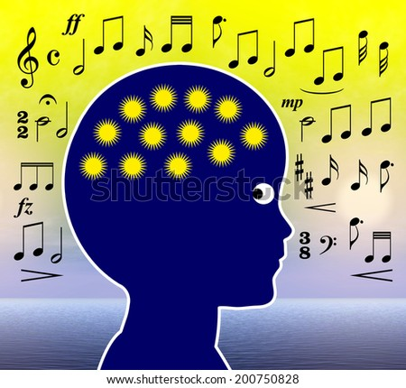 Music in Early Childhood Education. Listen to music or playing music develops brain cells, intelligence and creativity - stock photo