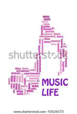 music info-text graphics and arrangement concept. - stock photo