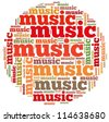 Music info-text graphics and arrangement concept on white background (word cloud) - stock photo