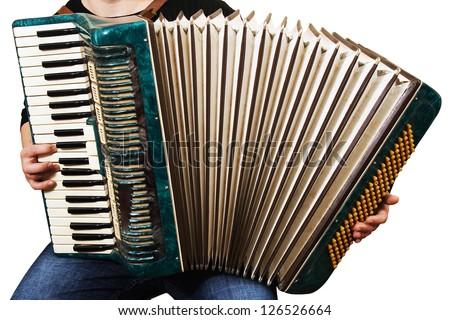 music instrument accordion playing hand keys - stock photo