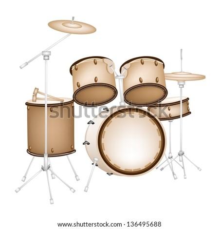 Music Instrument, An Illustration of A Set of Retro Style Jazz Drum Kit on White Background - stock photo