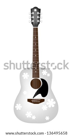 Music Instrument, An Illustration of Lovely Flower Patterns on A White Acoustic Guitar - stock photo