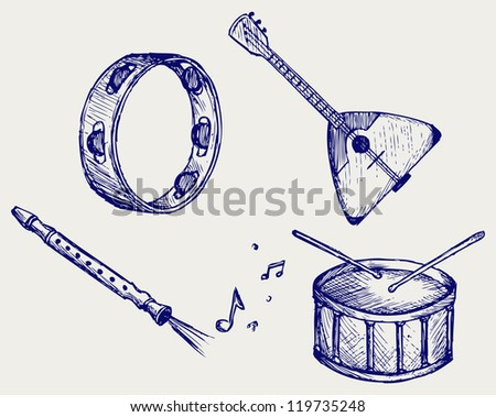 Music instruments. Doodle style. Raster version - stock photo