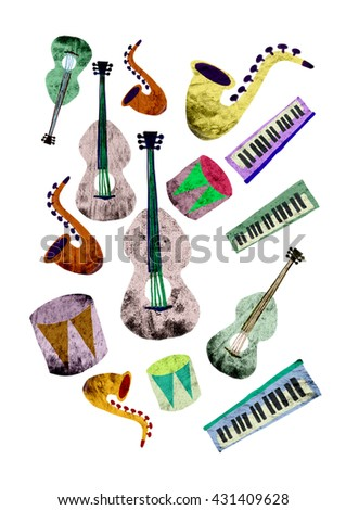 music instruments pattern colorful guitar drum trumpet cello violin - stock photo