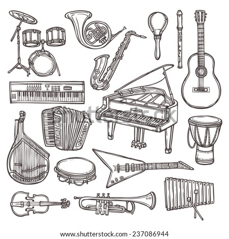 Music instruments sketch icon set with drum violin guitar isolated  illustration