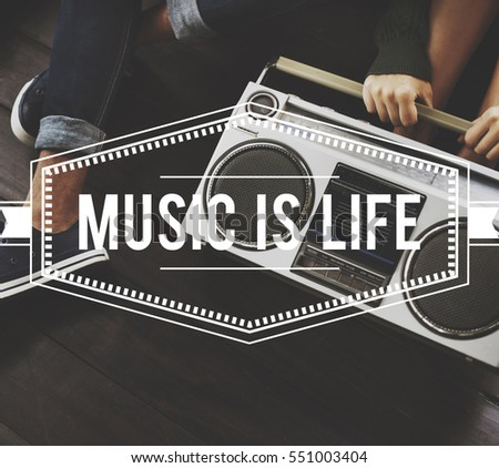 Music is Life Vintage Vector Graphic Concept
