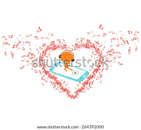 music is my soul in heart background - stock photo