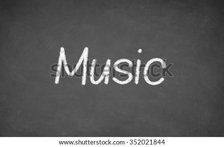 Music lesson on blackboard or chalkboard. written in white chalk - stock photo