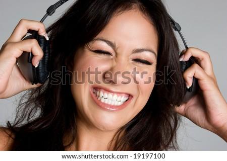 Music Listening Girl - stock photo