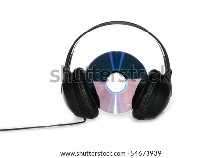 music listening: headphones with CD - stock photo