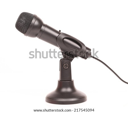 Music microphone on white background