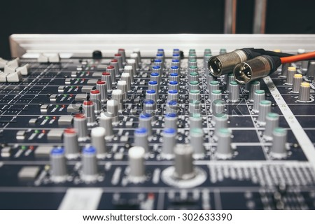 Music Mixer Desk Control display Equalizer mixer switch - stock photo