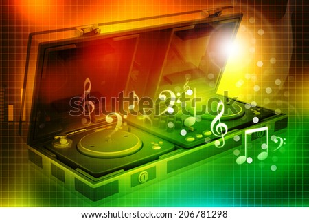 Music mixing control of Flight Case and turntable - stock photo