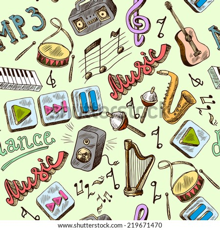 Music mp3 doodles seamless pattern with piano play pause color icons  illustration