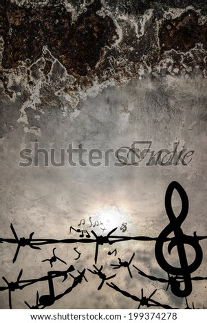 Music note  - Barbed wire - Flying - Indie - stock photo