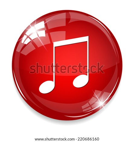 music note button - stock photo