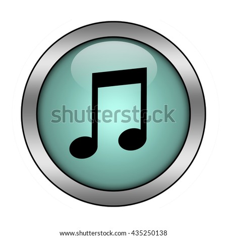 music note button isolated - stock photo