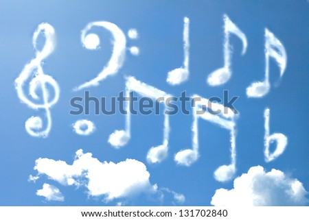 Music note cloud shape - stock photo